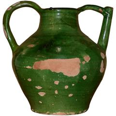 19th Century French Green Glazed Cruche or Pitcher