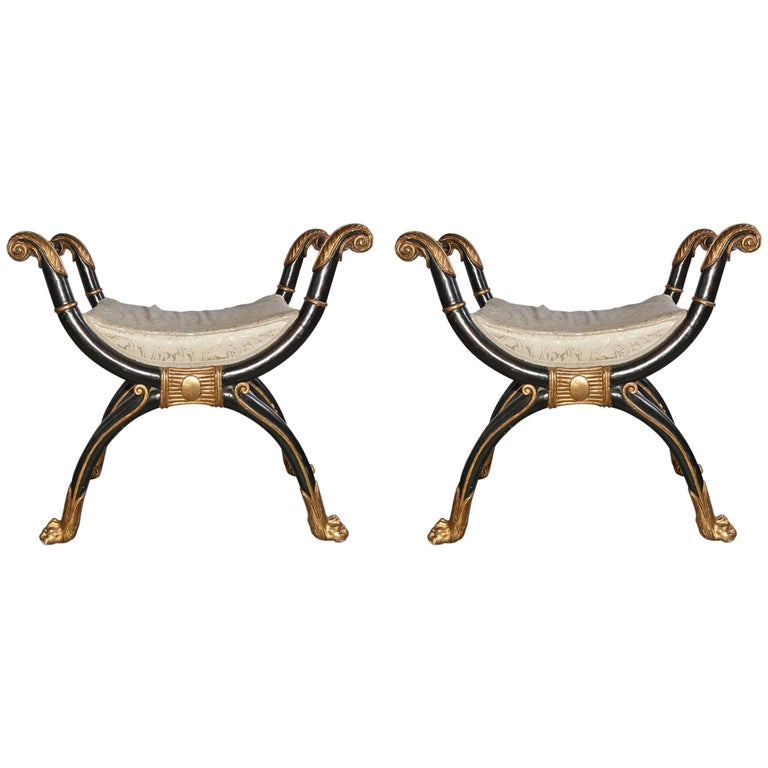 Pair of Empire-Style Hand-Carved Wood Stool