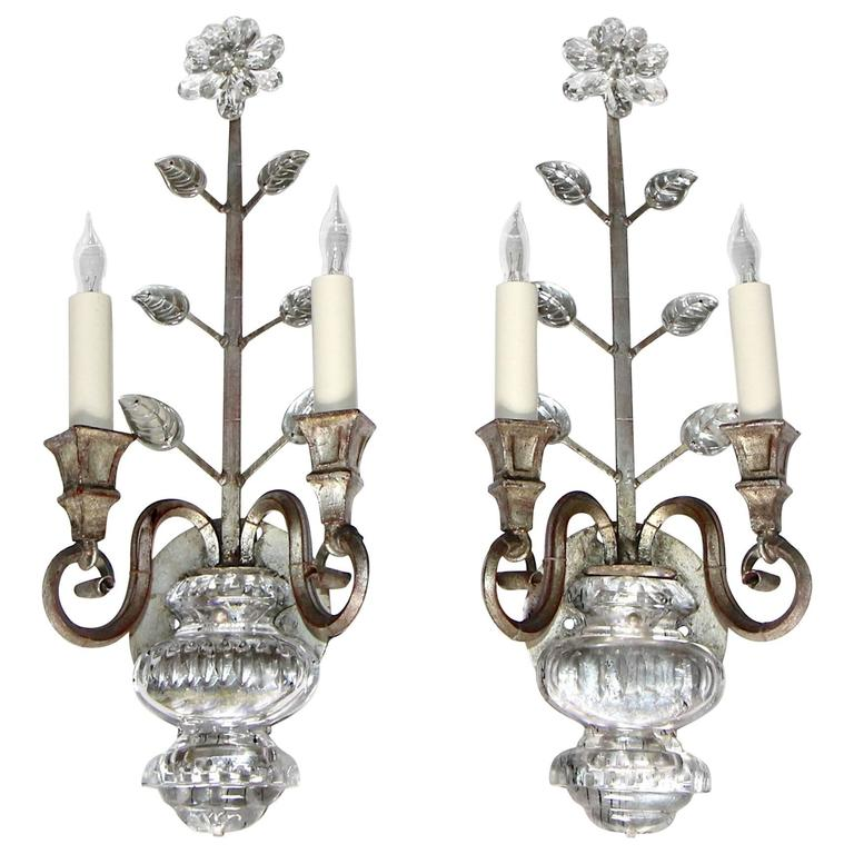 Silver Crystal Wall Sconces : Pair of Bagues Style French Crystal Silver Gilt Flower Wall Sconces For Sale at 1stdibs