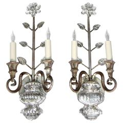 Pair of Baguès Style French Crystal Silver Gilt Flower Wall Sconces