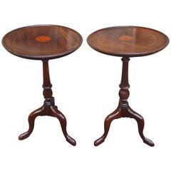 Pair of Edwardian Inlaid Mahogany Tripod Wine Tables