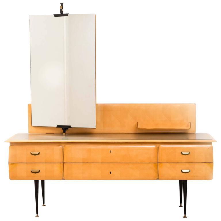 Italian Mid Century Maple Wood Dressing Table 1950