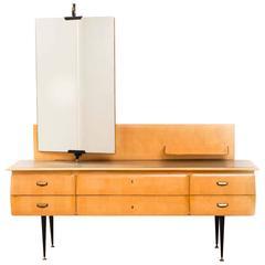 Fine Italian Mid-Century Maple Wood Dressing Table