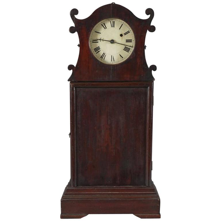 Unusual American Scroll Front Mantle Clock Circa 1840 For