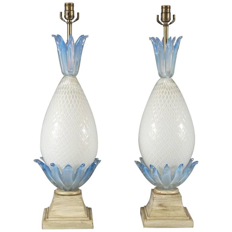 Pair of Murano Glass Pineapple Lamps 1