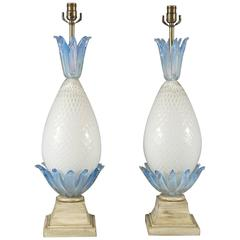 Pair of Murano Glass Pineapple Lamps