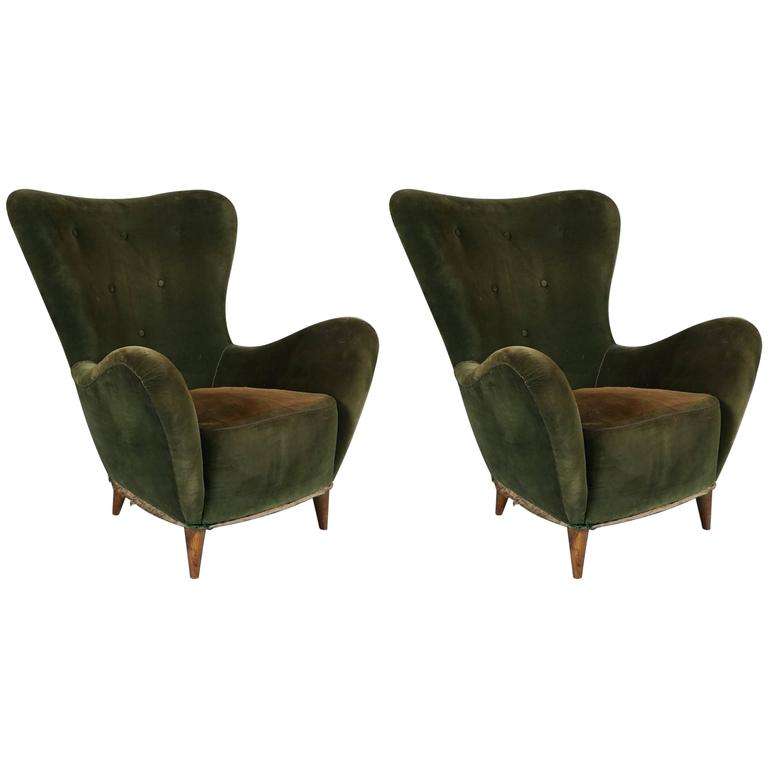 Pair of Italian Flared Back Chairs, circa 1950 For Sale