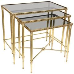 Set of Three Mid-Century Italian Polished Brass and Glass Nesting Tables /SALE