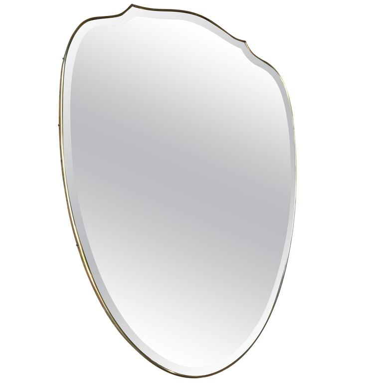 Italian Brass Shield Shaped Framed Mirror 1
