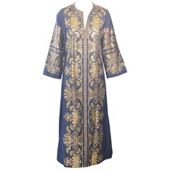 1970s Blue and Gold Lame Caftan Maxi Dress Kaftan Long Sleeves