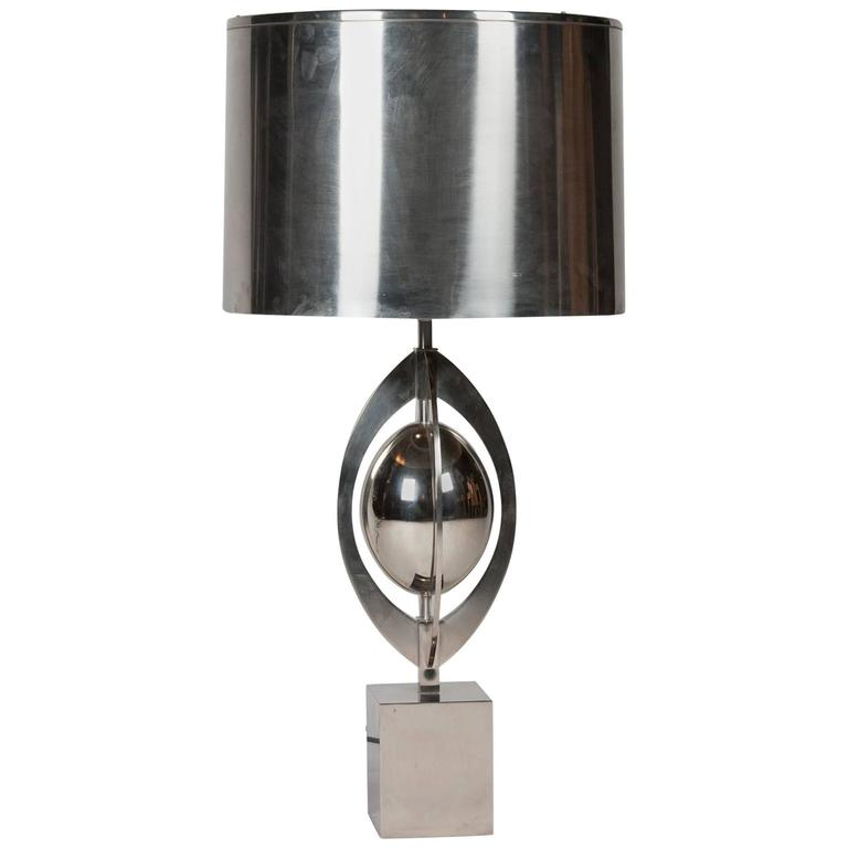 Polished Steel Table Lamp by Charles et Cie, French, 1960s 1