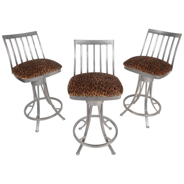 Set of Three Contemporary Modern Velvet Leopard Bar Stools