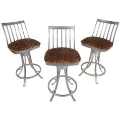 Set of Three Contemporary Modern Velvet Leopard Bar Stools