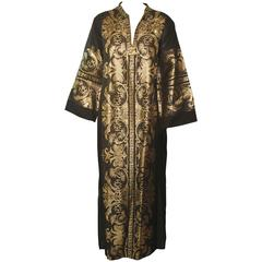 Caftan Black and Gold, 1970s, Greek Kaftan