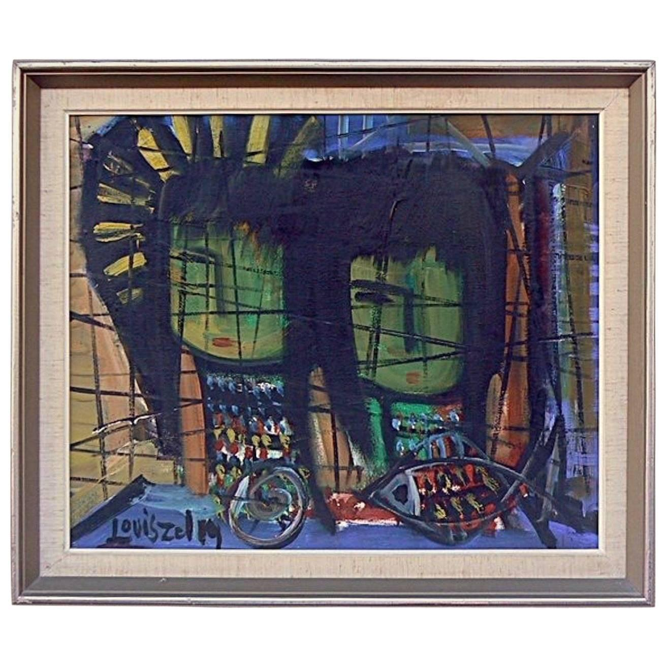 good midcentury modern painting by artist louis zelig with zelig toulouse. Black Bedroom Furniture Sets. Home Design Ideas