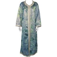 Moroccan MoorishCaftan Maxi Dress Brocade Aquamarine Blue and Silver Size M L