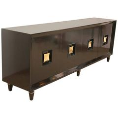 French Art Deco Black Lacquer Credenzas with Biomorphic Brass Pulls