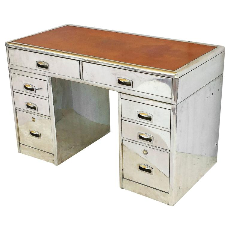 Polished Aluminum English Marine or Nautical Pedestal Desk with Leather Top