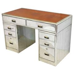 English Marine or Nautical Pedestal Desk of Polished Aluminum with Leather Top