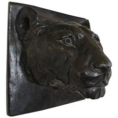 Solid Bronze Wall Sculpture of Panther by Margaret H. Wiechmann and Gorham Co