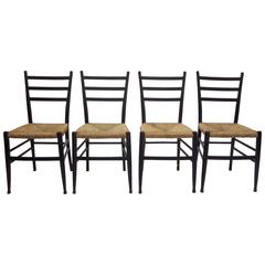 Italian Wood and Rush Seat Ladder-Back Chairs, Group of 4