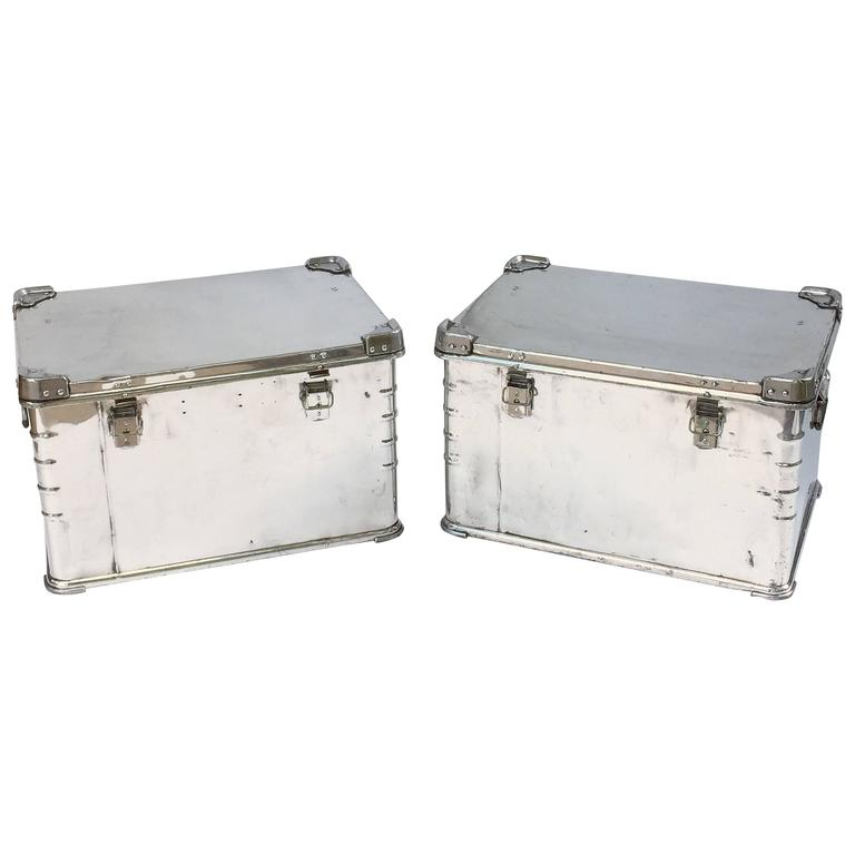 Pair of German Luggage Trunks of Polished Aluminum 1