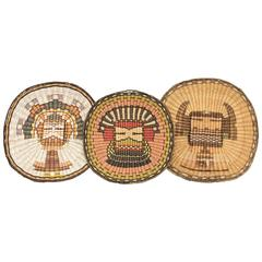 Collection of Vintage Three Pictorial Hopi Wicker Plaques