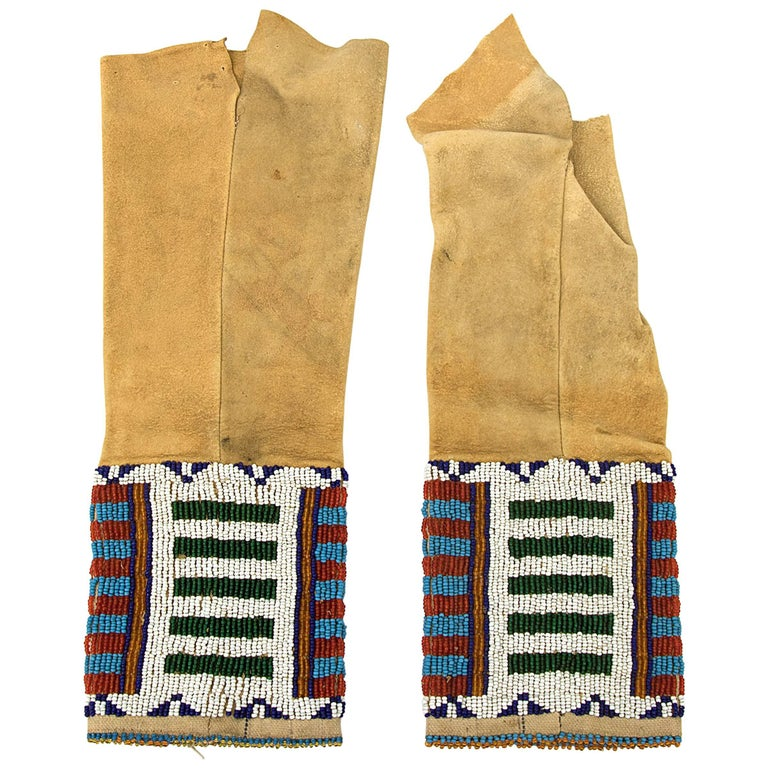 Antique Native American Child's Beaded Leggings, Cheyenne, Late 19th Century For Sale