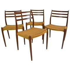 Set of Four Danish Teak Dining Chairs, Model #78 by N Ø Møller for J L Møller