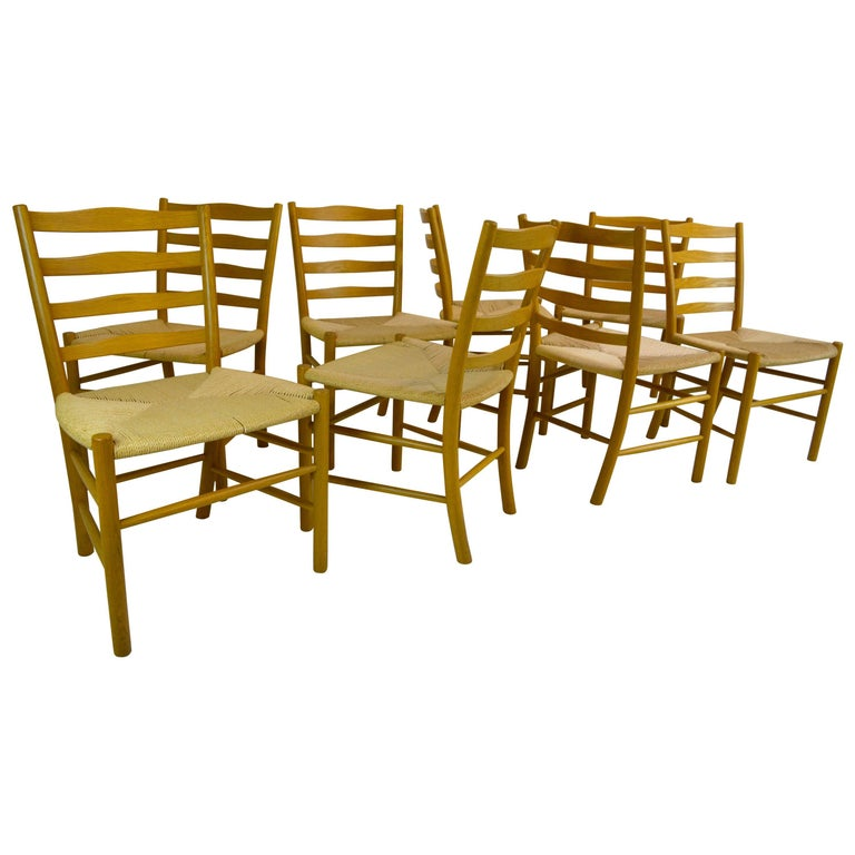 Set of Eight Kaare Klint Dining Chairs for Fritz Hansen, Denmark For Sale