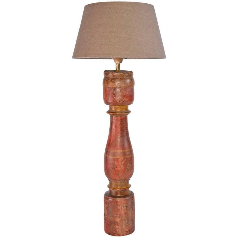 antique wood spindle table lamp at 1stdibs. Black Bedroom Furniture Sets. Home Design Ideas