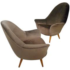 1950s High Back Armchairs by Arne Vodder