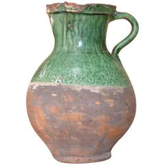 19th Century French Green Glazed Pichet / Pitcher