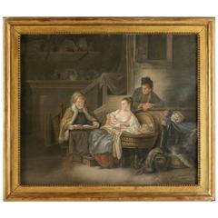 Late 18th Century French School of Figurative Pastel Happy Motherhood in Russia