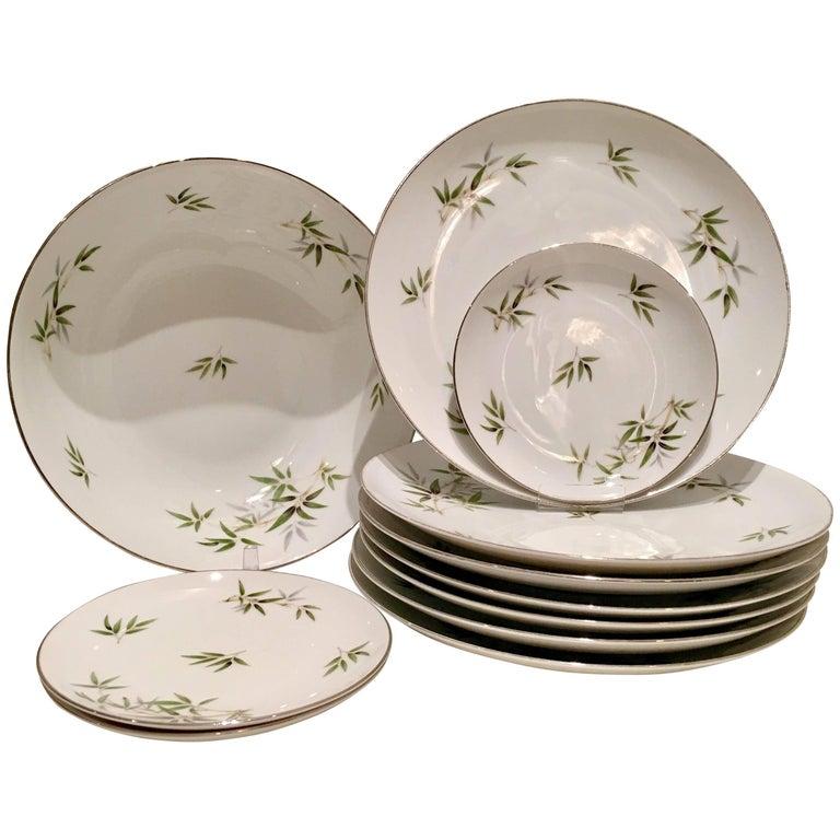 "20th Century Japanese Dinnerware Ceramic & Platinum ""Bamboo"" Set of 11 Pieces For Sale"