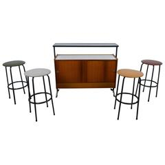 1960s Bar with Four Bar Stools from Germany