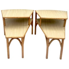 Mid-Century Rattan and Laminate Top Two-Tier Side Table, Pair