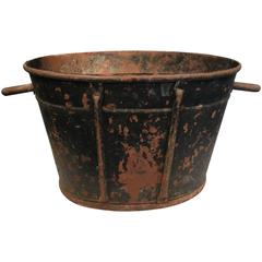 "Large French Tole Grape-Picker's Bucket Marked ""DB"""