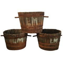 Set of Three French Wooden Grape-Picker's Tubs/Planters