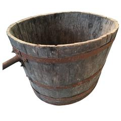 Large French Wooden Grape Picker's Bucket or Planter