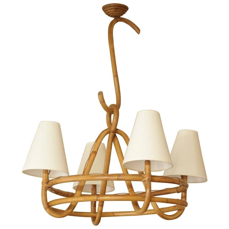 1950s Rattan Chandelier Attributed to Louis Sognot