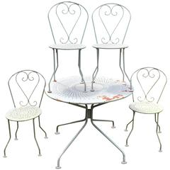 French Wrought Iron Garden Dining Set for Four