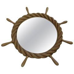 Beautiful Audoux Minet Rudder Rope Mirror, circa 1960