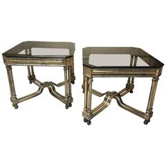 Pair of Neoclassical Italian Side Tables Gold Finish Iron, 1960s