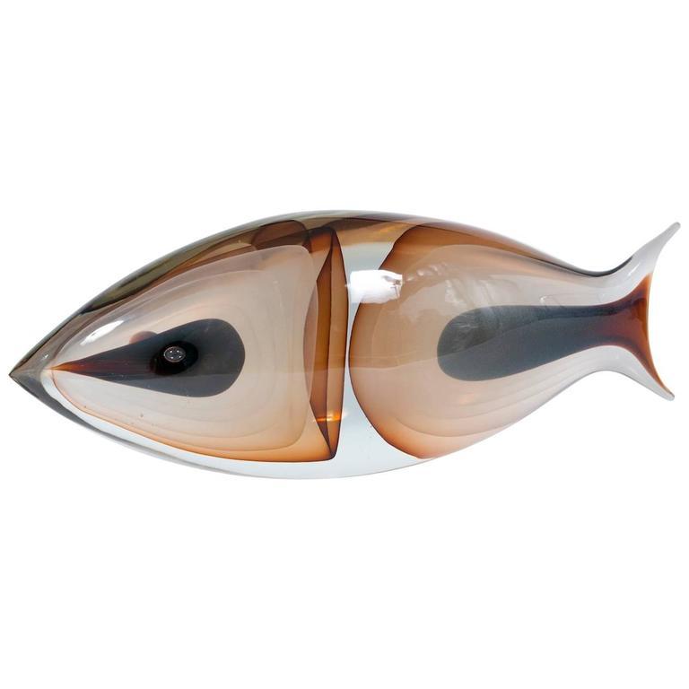 Italian Venetian Fish Sculpture in Murano Glass by Romano Donà