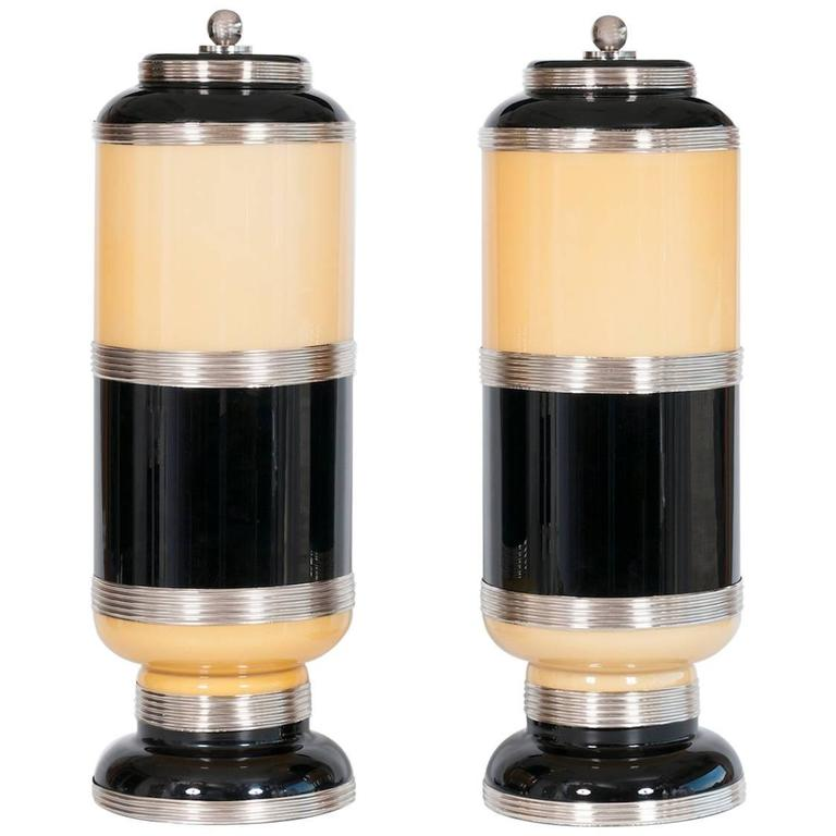 Pair of Italian Table Lamps in Murano Glass Black and Amber, 1960s