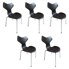 Set of Five 3130 Grand Prix Chair by Arne Jacobsen for Fritz Hansen