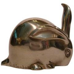 Art Deco Bronze Sculpture Rabbit by Eduard Marcel Sandoz, Susse Freres, 1920