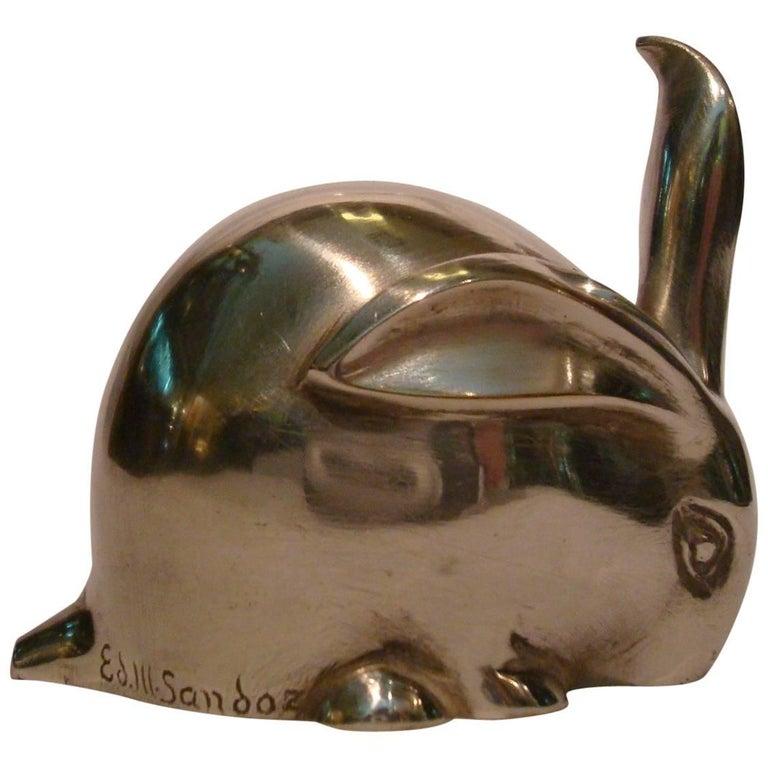 Art Deco Bronze Sculpture Rabbit by Eduard Marcel Sandoz, Susse Freres, 1920 For Sale