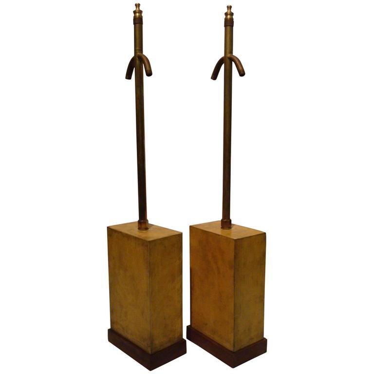 Art Deco Jacques Adnet Parchment Table Lamps, France, 1930s